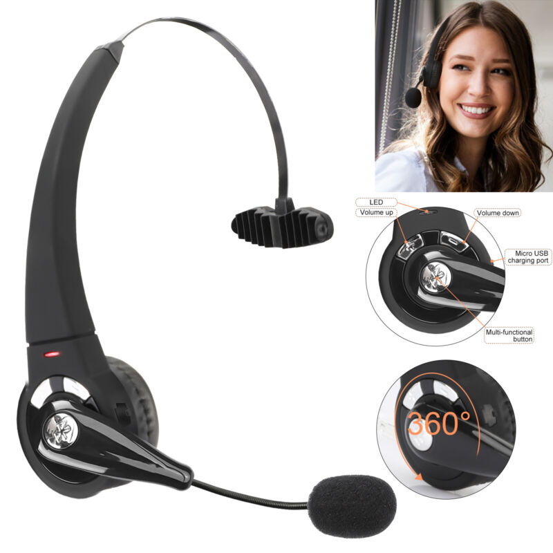 Wireless Bluetooth Headset Noise Cancelling Over the Head Boom w/Mic For Trucker