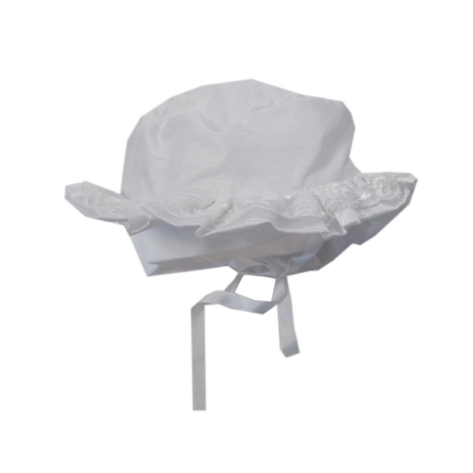 Staab Mütze Mützen Hut Taufe Mädchen Weiß Baby Festlich Gr. 41/43cm, 45/47cm