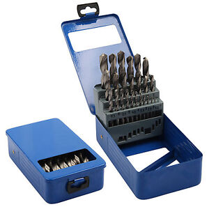 NEW 25 PIECE HIGH SPEED STEEL HSS DRILL SET METAL INDEX BOX METRIC 1MM TO 13MM