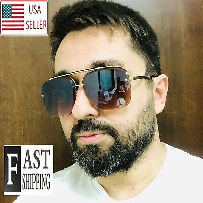 Men's SUNGLASSES DESIGNER OVERSIZE SQUARE AVIATOR RETRO GOLD FRAME SHADES (Designer Sunglass Frames)