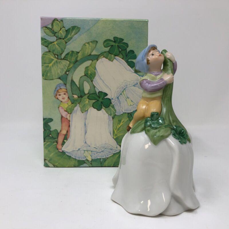 Avon 1983 Good Luck Bell Leprechaun on Flower w Clovers Decorative Collectible