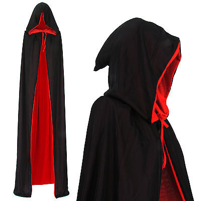 Vampir Wendeumhang Umhang mit Kapuze Cape schwarz rot Mantel - Vampir Kostüm Rot Cape