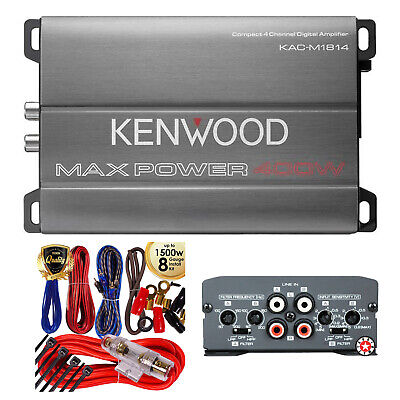 Kenwood Max Power MOSFET Compact 4-Channel 400W Amp KAC-M1814 + 8-Ga Amp Kit