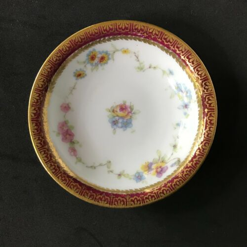 Antique Theodore Haviland Limoges Butter Pat Floral Applied Gold Early Porcelain