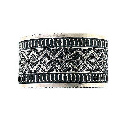 Navajo Richard Jim Sterling Silver Stamped Antiqued Bracelet Cuff