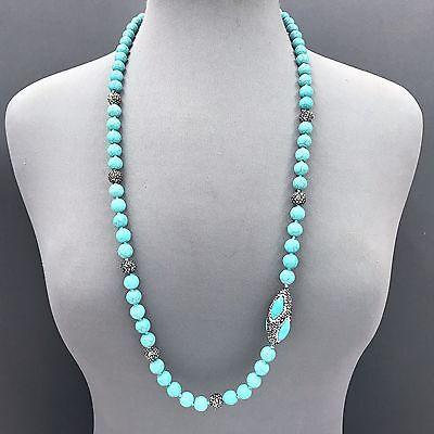 Turquoise Stone Beads Shambhala Ball Rhinestones Oval Shape Necklace