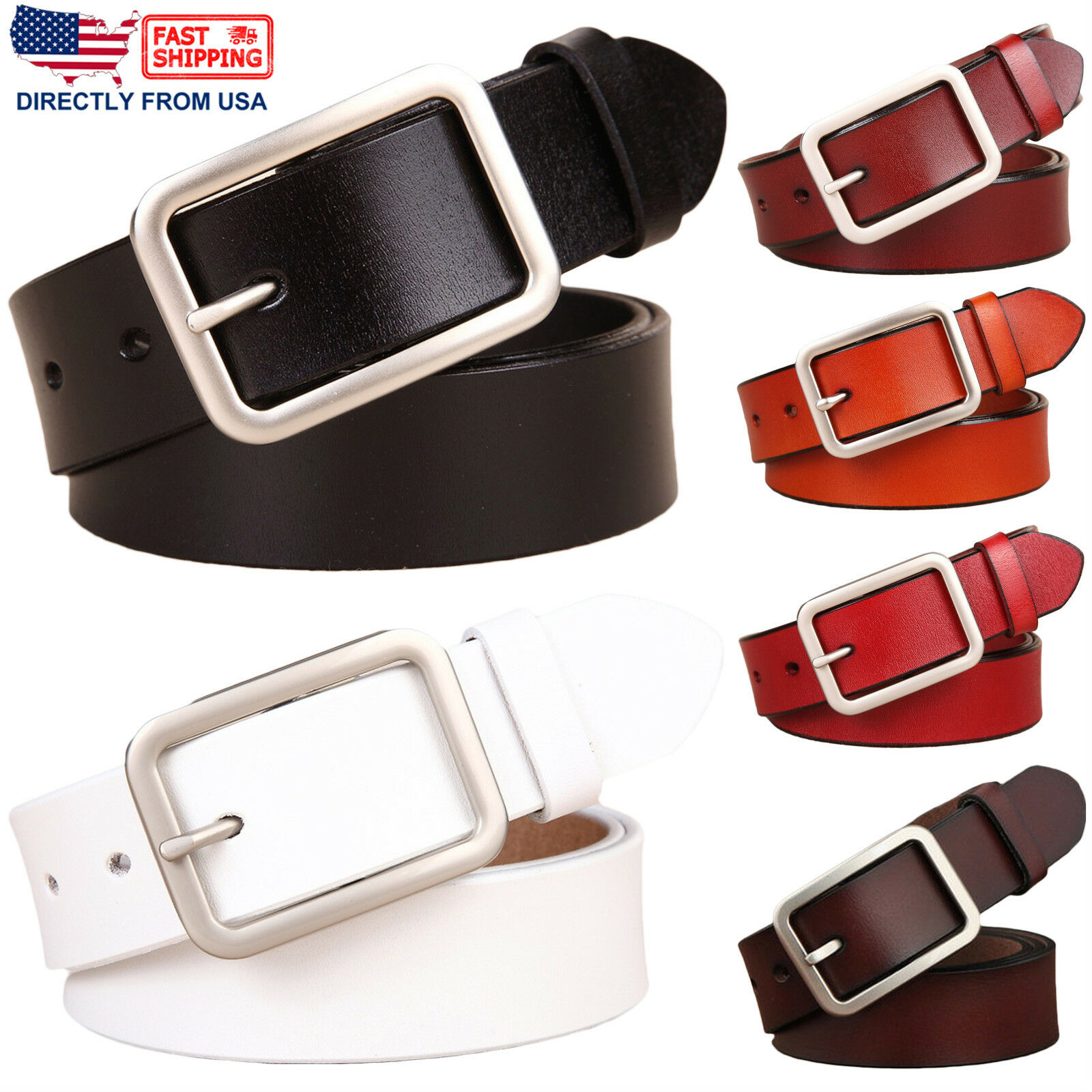 Women's Classic Buckle Handcrafted Genuine Leather Belt Belts