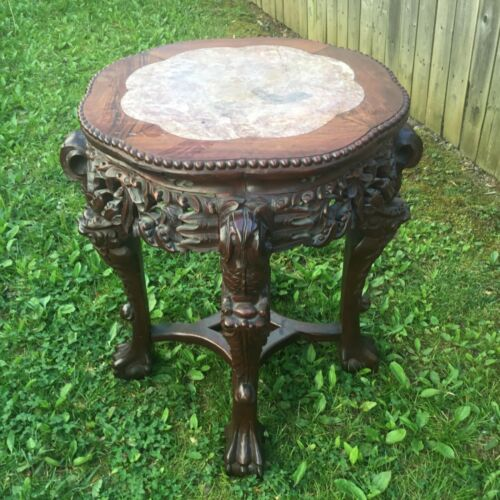 Antique Meiji Era Oriental Japanese Carved Tabouret Table with Rose Marble Top