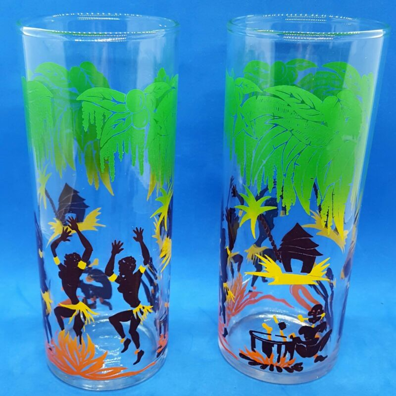 PAIR Mid-Century Federal Glass, Cannibals Dancing in the Jungle, Tumbler, Juice
