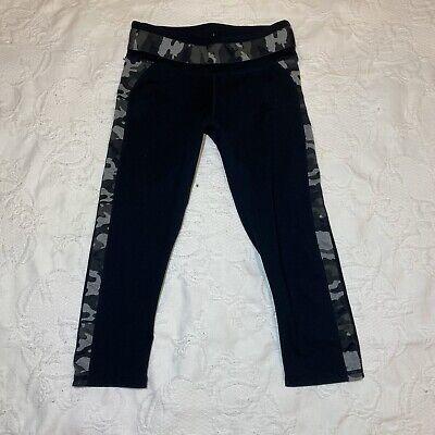 Fabletics Capri Black-Camo Side Stripes  Leggings No Size Approx XXS -XS