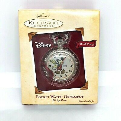 Mickey Mouse Disney Hallmark Keepsake Pocket Watch Ornament 2004 Christmas