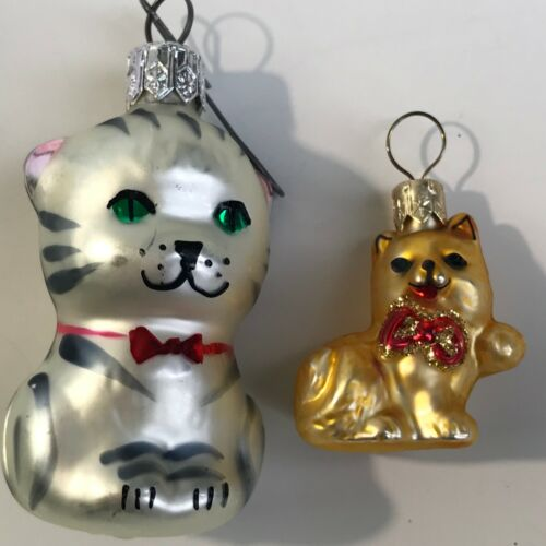Two Small Mini Glass Cat Christmas Ornaments Czech