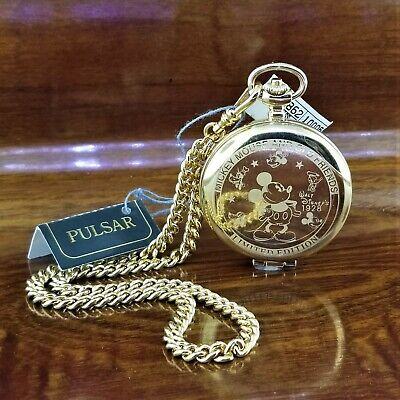New Vintage Gold PULSAR By SEIKO LE Fab 5 Mickey Mouse Pocket Watch