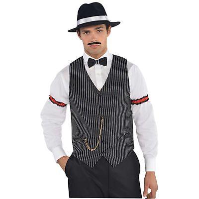 Gangster Al Capone Vest Waistcoat Roaring 20's 1920s Mens Fancy Dress Costume