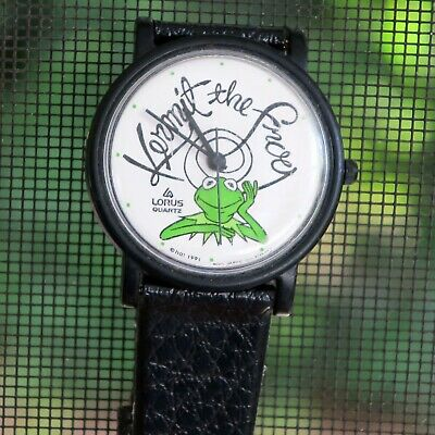 Vintage 1991 Lorus Jim Henson's Muppets Kermit the Frog Black Wrist Watch -Works