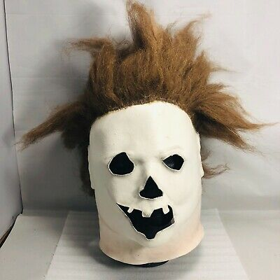 Custom Michael Myers Pumpkin Face Mask Halloween - w Stand - Very Rare](Halloween Michael Myers Pumpkin Mask)