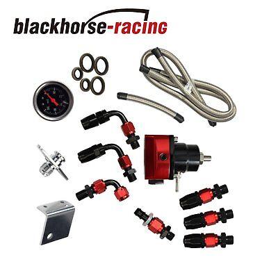 Universal Fuel Pressure Regulator+Gauge+AN6 Fuel Line Hose+Fittings Black&Red