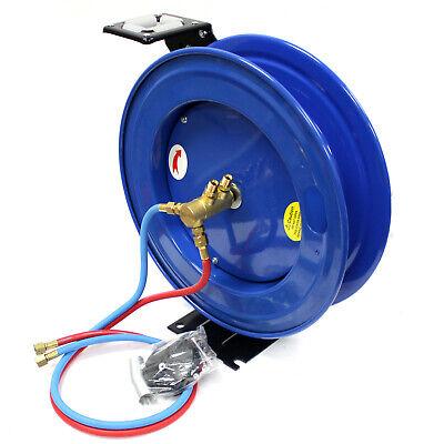Spring-rewind Retractable Twin Hose Reel For 50ft Oxygen Acetylene Welding Hoses