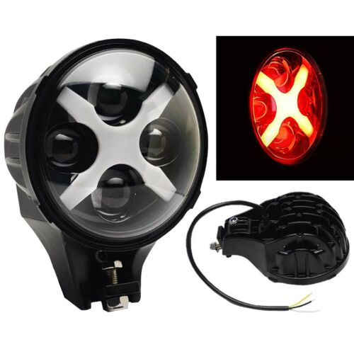 "6"" Off Road X LED Red X Auxiliary Fog Spot Flood Light 6k 40w 8000 Lumen"