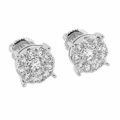 Iced Out Round Cut Pave Set Earrings Simulated Diamonds Rhodium Finish Screw (Diamond Round Circle Earrings)