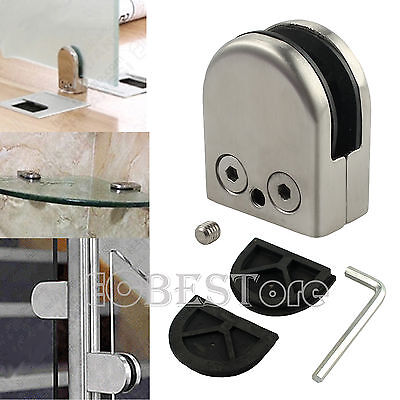 8x Stainless Steel 304 Glass Clip Clamp Bracket Flat Holder for Staircase 8-10mm