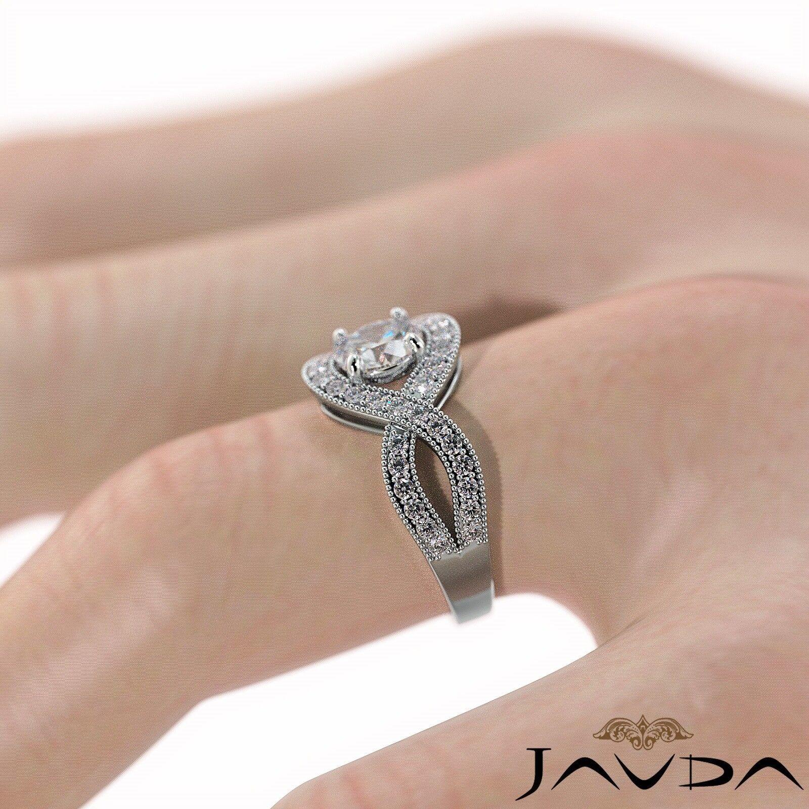 1.25ctw Milgrain Halo Side Stone Round Diamond Engagement Ring GIA G-VS1 W Gold 5