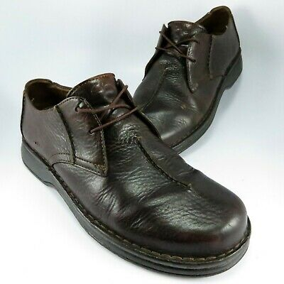 Clarks Split-Toe Casual Oxford Mens Size 9M Brown Textured Oiled Leather Lace-Up