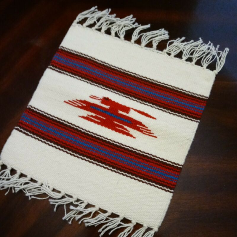 """Handcrafted Southwestern Ivory Chimayo Weaving Textile Placemat 10""""x10"""" N.M"""