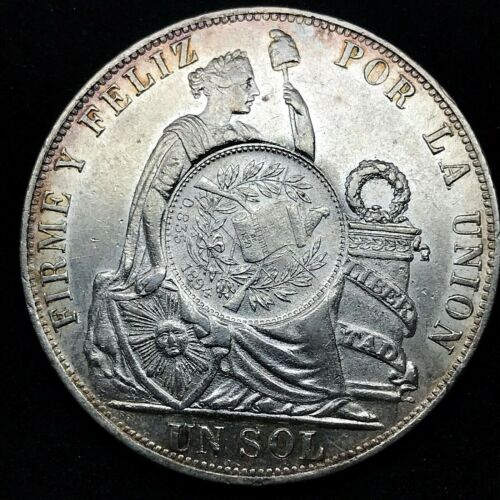 1894 SILVER GUATEMALA PESO 1/2 REAL COUNTER STAMPED ON 1890 TF PERU SOL- SCARES.