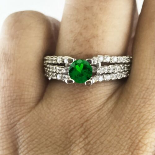 DEAL! 14K GOLD 2.50 CT GREEN EMERALD & NATURAL DIAMOND WEDDING ENGAGEMENT RING