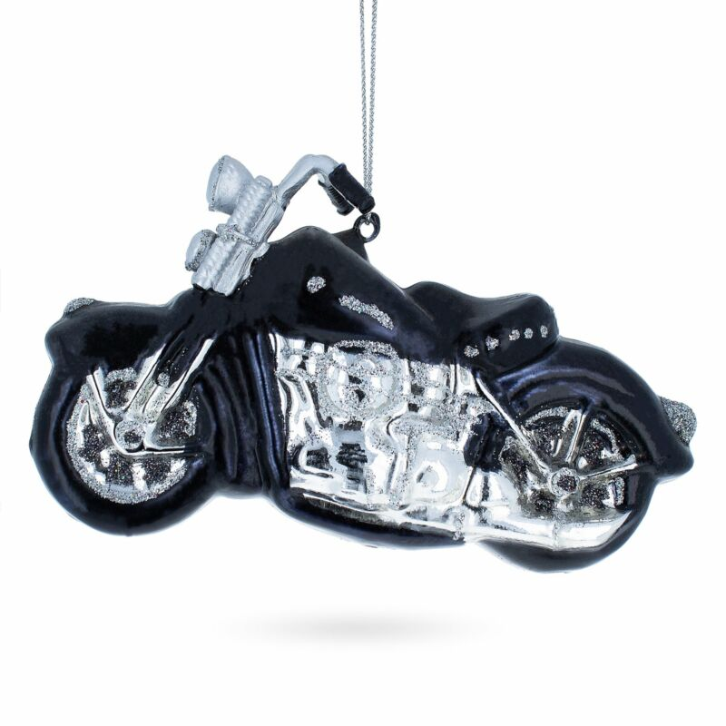 Black & White Motorcycle Glass Christmas Ornament
