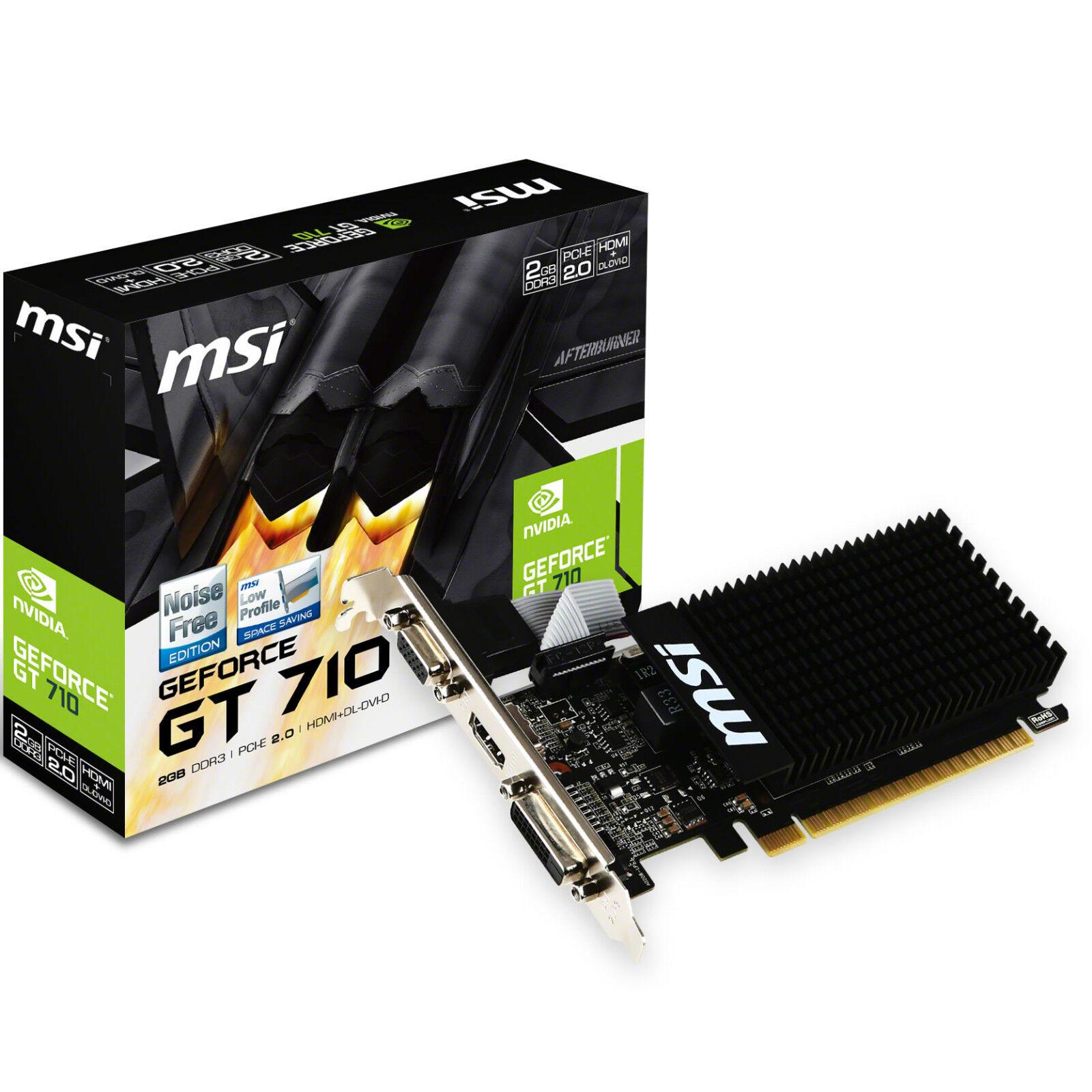 SCHEDA VIDEO MSI NVIDIA GEFORCE GT710 2GB DDR3 PCI-E DVI HDMI LOW PROFILE