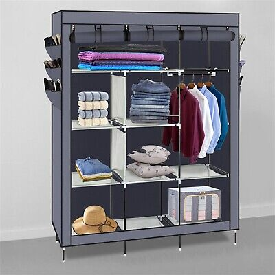 "69"" Portable Organizer Closet Armoire Clothes Storage Shoe"