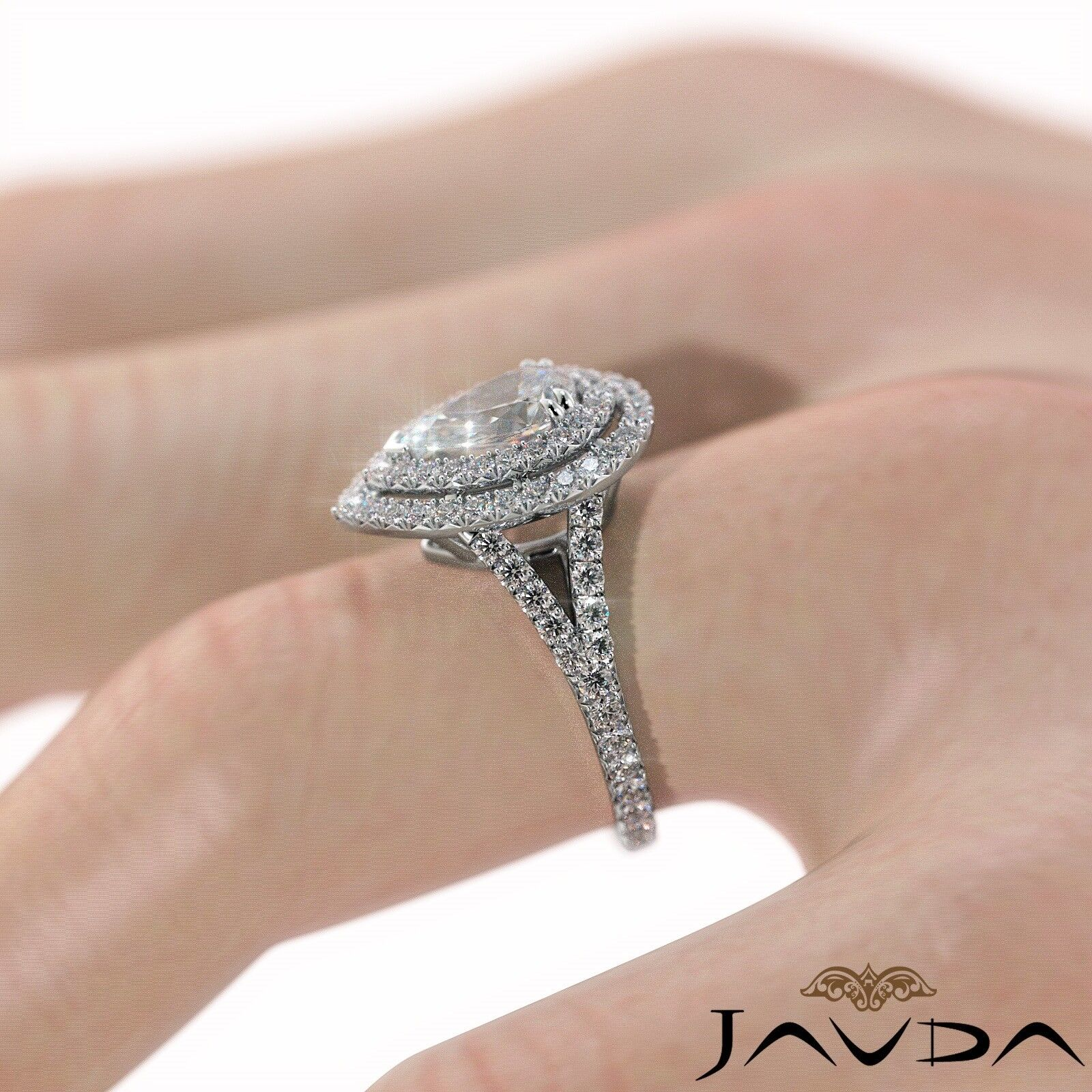 2.12ct Double Halo Split Shank Pear Diamond Engagement Ring GIA E-SI1 White Gold 5
