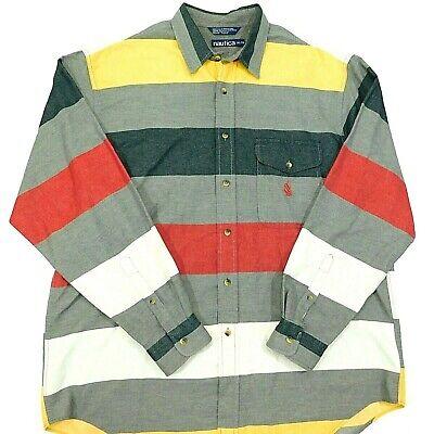 Vintage 90s NAUTICA Shirt USA MADE Color Block Horizontal Stripes L/S Men's XL