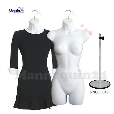 2 White Female Mannequin Torsos 1 Stand 2 Hangers Womens Dress Forms