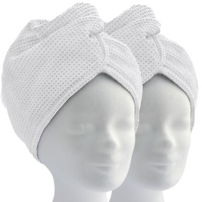 Haarturban, Mikrofaser Turban Handtuch mit Knopf (2er Set, weiß) Kopfhandtuch