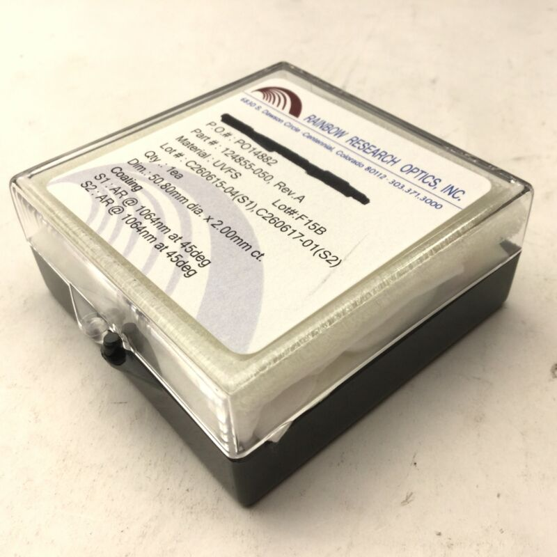 New Rainbow Research Optics 124855-050 Optic, Material UVFS, 50.8mm x 2mm ct