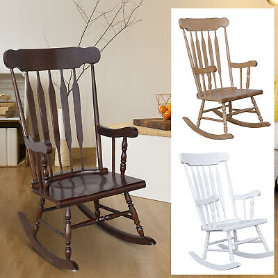 Porch Rocker - Traditional Slat Wood Rocking Chair Indoor Porch Rocker  Deck Furniture Patio