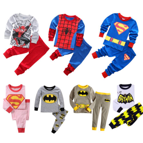 Baby Kinder Mädchen Jungen Batman Surperman Outfit Schlafanzug T-shirt Hose Set