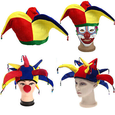 Funny Costume Hats (Multicolor Jester Clown Funny Costume Hat Cap Mardi Gras Halloween Party Prop)