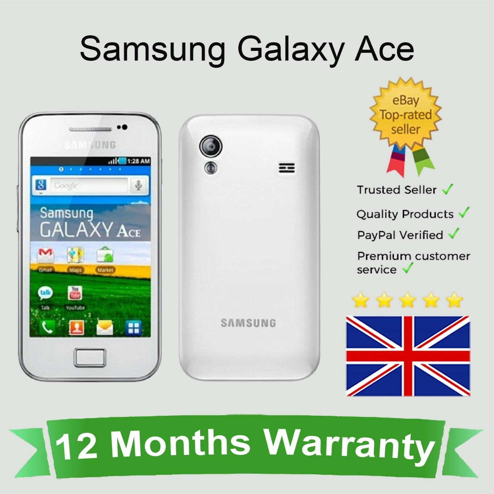 Android Phone - Unlocked Samsung Galaxy ACE Android Mobile Phone - White