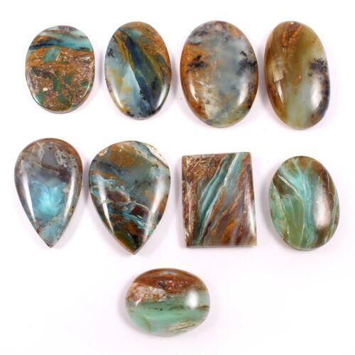 129 Cts Peruvian Opal Loose Gemstone Cabochon Natural 9 Pcs Wholesale Lot SG538