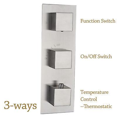 Brushed Nickel Brass 3-Way Model Shower Faucet Diverter Thermostatic Mixer Valve