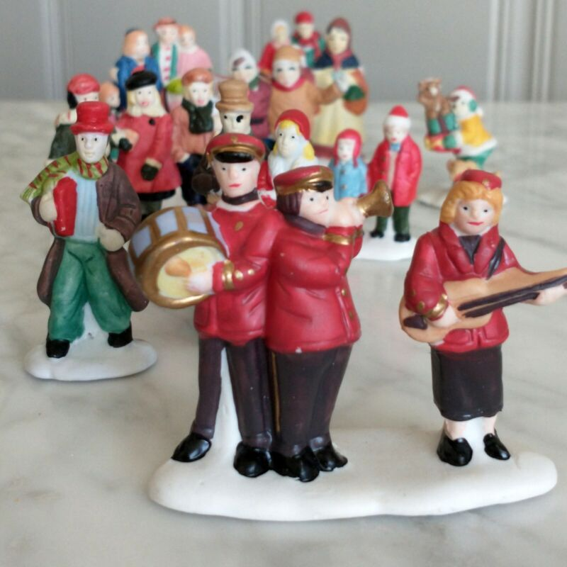 Lot of Christmas Train Village Accessories Ceramic Town People Old Collection