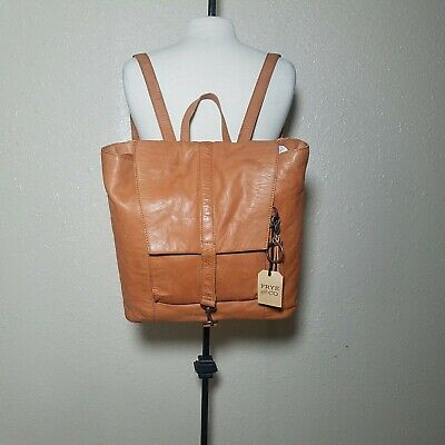 Frye & Co. Womens Rubie Leather Burnt Orange Backpack Large Opening 2 Pockets