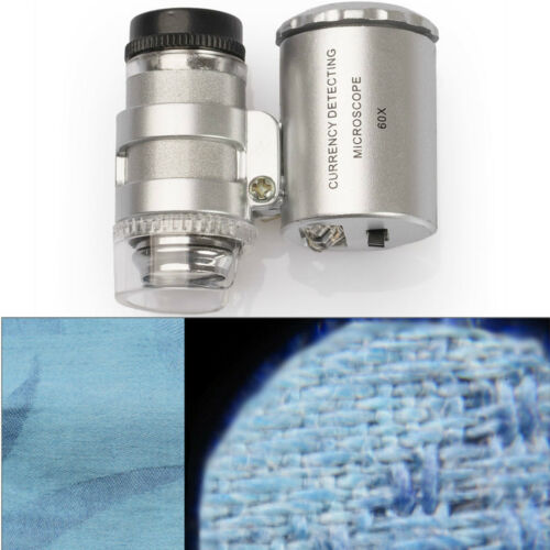 60x LED Lupe Mini Mikroskop Taschenmikroskop Taschenlupe Juwelierlupe UV Schmuck