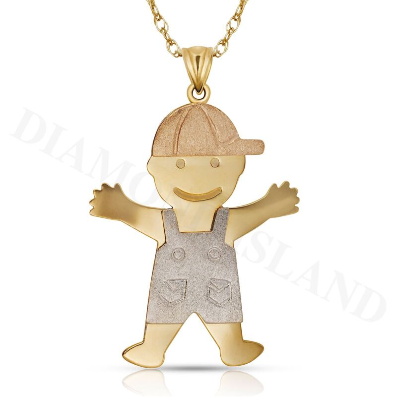 14K Solid Real 3 Color Yellow White Rose Gold Boy /& Girl Charm Pendant