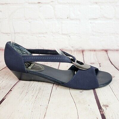 Impo Stretch Blue Sandal Womens Size 6 Thong Strap Sling Back Shoes