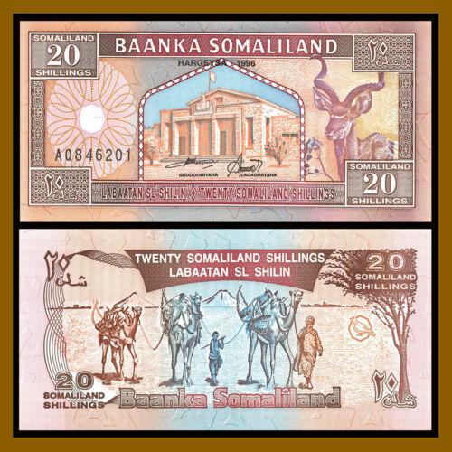 Somalialand Shillings 20 (Shillin),1996 P-3b Camel Caravan Gazelle Unc